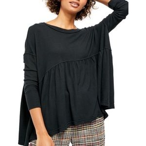 Free People black Forever your Girl tunic t-shirt